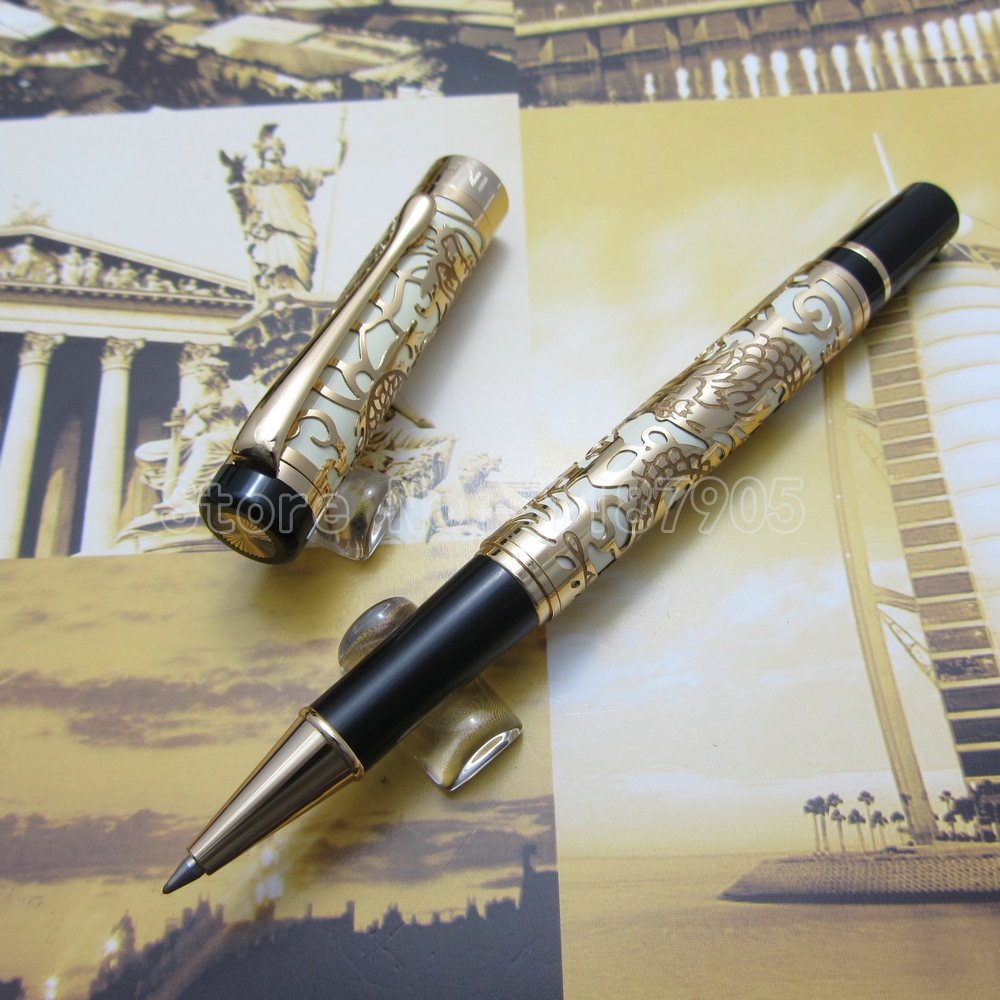 Jinhao Embossed golden dragon Pen High Quality rollerball pen Black Red White Orange Optional JH1322<br><br>Aliexpress