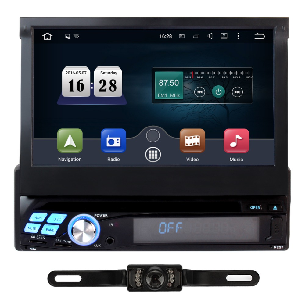 Android 5.1 Quad Cord Universal Car Stereo DVD Player Free Camera 7'' 1 Din GPS Radio Support 3G WIFI OBD2 1080P(China (Mainland))