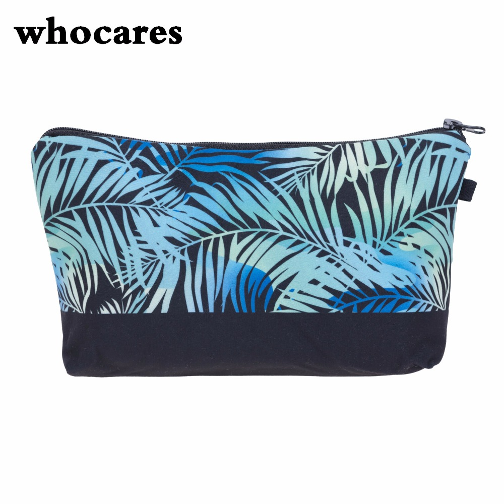 Blue palm 3D Printing Makeup Bags With Multicolor Pattern Cute Cosmetics Pouchs For Travel Ladies Pouch Women Cosmetic Bag(China (Mainland))