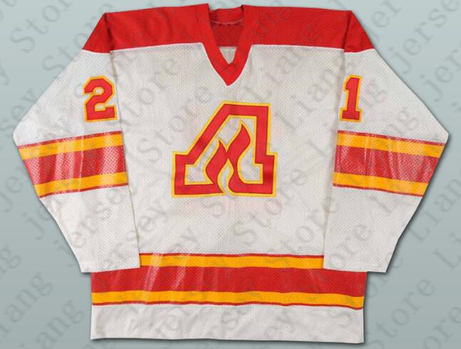 Deluxe Edition #21 John Gould Atlanta Flames Hockey Jersey White or Custom any number name Mens Stitched jerseys(China (Mainland))
