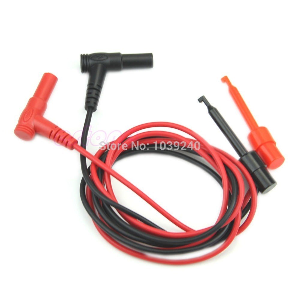 Free Shipping 1Pair Banana Plug To Test Hook Clip Probe Cable For Multimeter Test Equipment