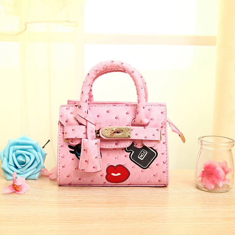 2016 Children Ostrich Veins Messenger Bags Perfume Appliques Princess PU Party Bags Girls Handbags Shoulder Shell bags for girls(China (Mainland))