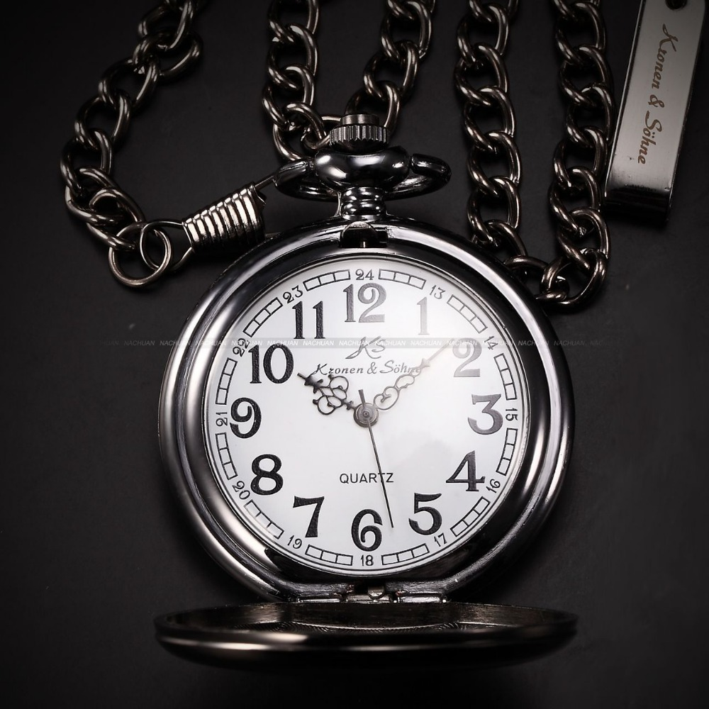 KS Retro Steel Case White Dial Analog Relogio Masculino Necklace Male Clock Pendant Fob Chain Men