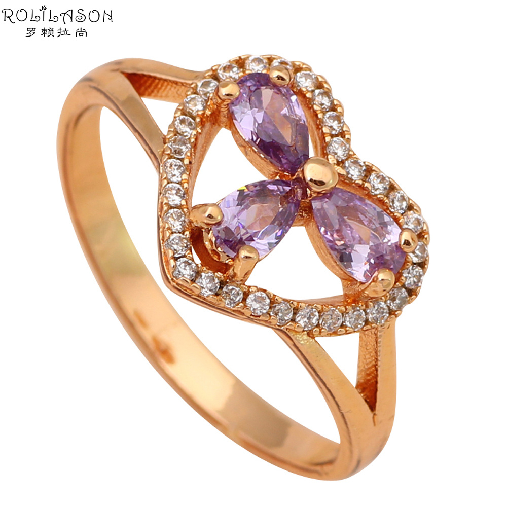 Vintage jewelry 18k k gold plated crystal zircon Vintage style fashion rings