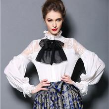 Korean Women's Shirts 2016 Autumn Spring long sleeve office wear Bow Sexy chiffon blouses white black natural silk tops