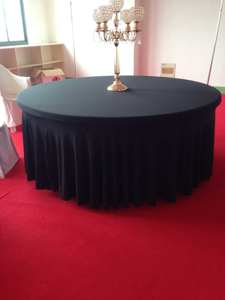 6ft black spandex round swag table cloth(China (Mainland))
