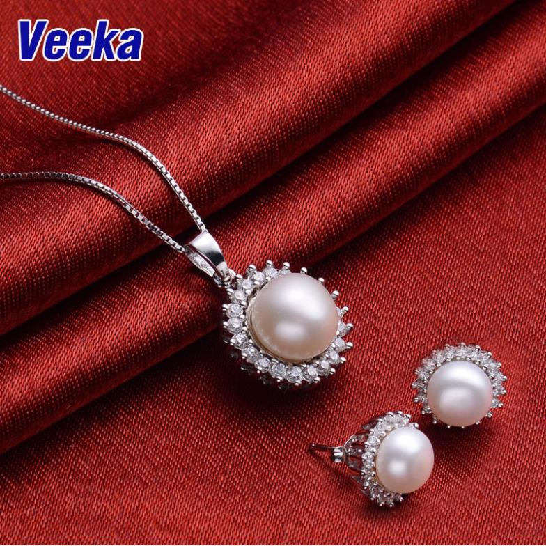 Veeka jewelry sets bridal necklace and earring sets 925 sterling silver freshwater pearl necklace set stud earrings for women(China (Mainland))