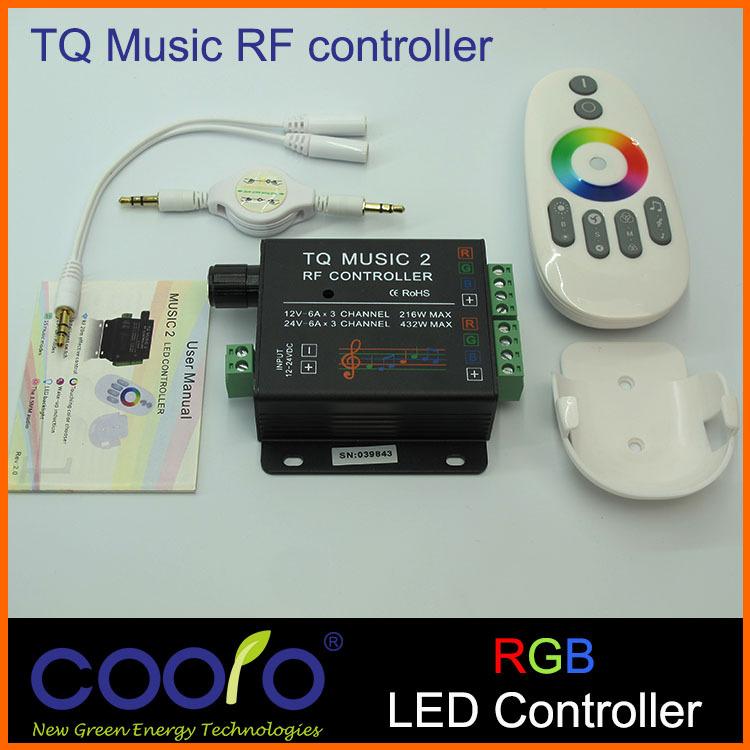 DC12-24V 18A RGB Music Controller RF Remote Intelligent Sonic Sensitivity, Led Backlight Remote Control(China (Mainland))