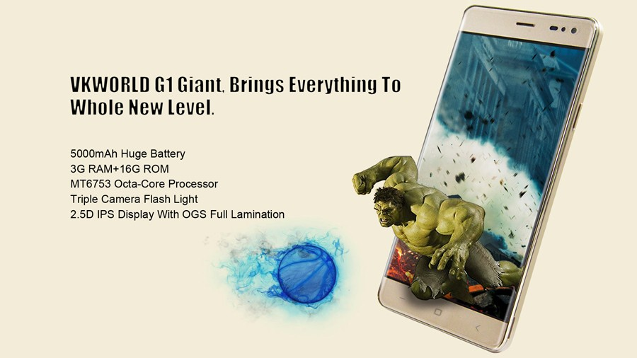 Original Vkworld G1 5.5″ HD IPS MTK6753 Octa Core 3GB RAM 16GB ROM 4G LTE Mobile Phone Android 5.1 13.0MP 5000mAh OTG smartphone