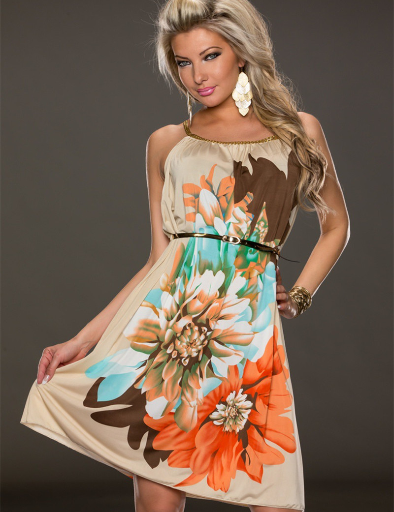 R7971 Wholesale and retail best selling dress flower fashion style popular summer style belt and flower soft print dresses(China (Mainland))