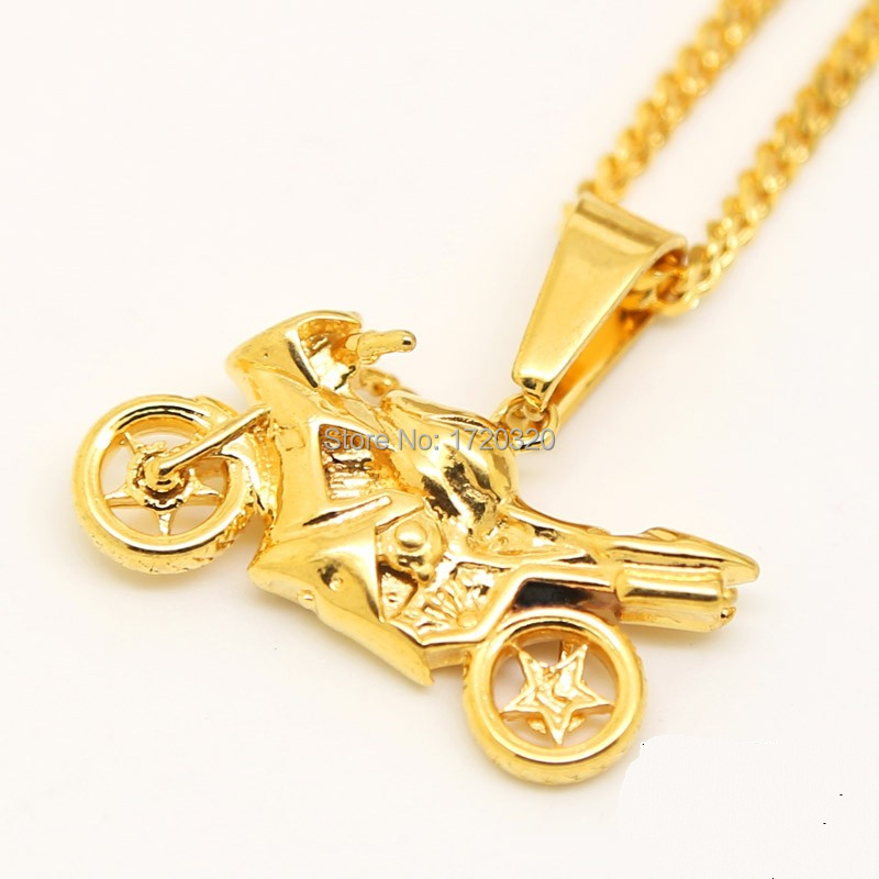 "Mens 24K Gold Solid Motorcycle Biker Charm Necklace w/3mm 24""inch Miami Cuban Chain Micro Motorbike Rock Hiphop Jewelry(China (Mainland))"