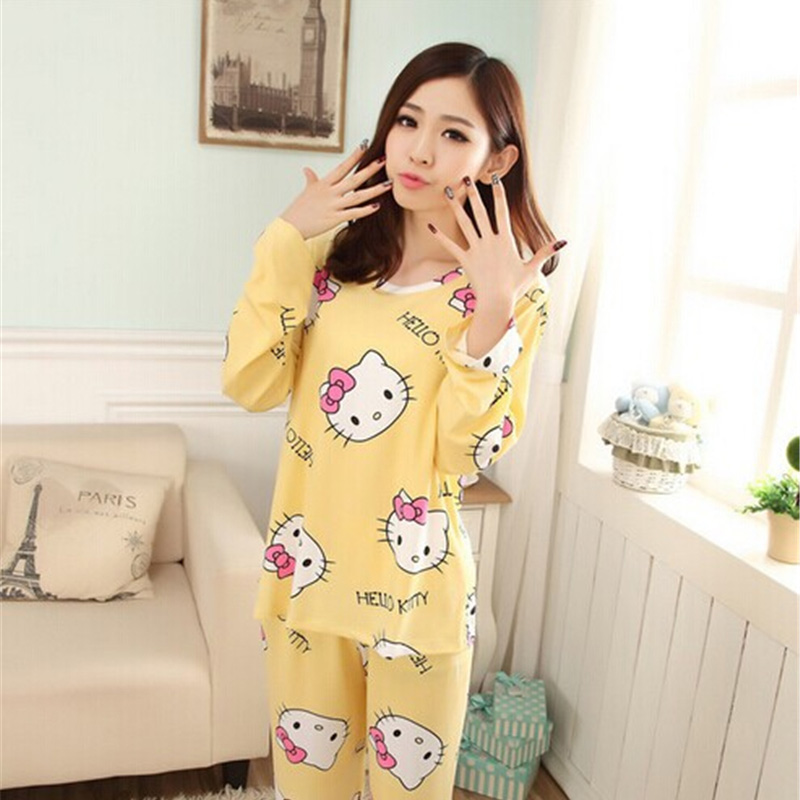 Women Pajama Sets Pink Purple Cartoon Animals Printing Modal Summer Nightgown Women Cute Pajama Girls Pajamas Sleepwear Homewear(China (Mainland))