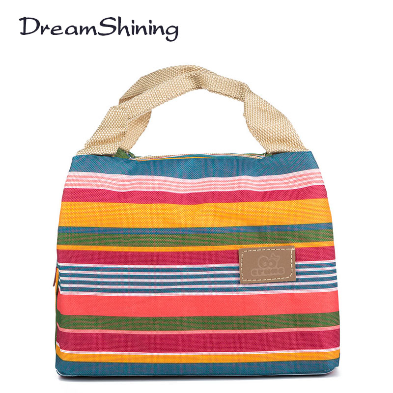 Insulated Neoprene Lunch Bag Canvas Stripe Thermal Bags Kids Baby Tote Picnic Lunchbox lunch package convenient portable(China (Mainland))