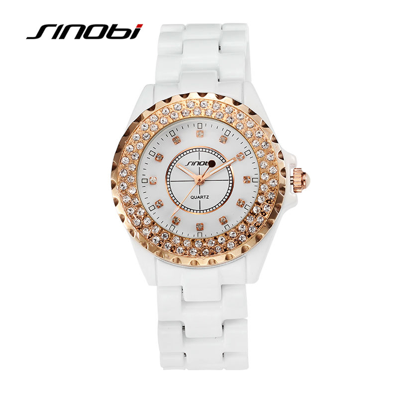 SINOBI Womens Luxury Rose Gold Color Ceramics Wrist Quartz-Watch Ladies Fashion Waterproof Wristwatches Female Diamond Watches<br><br>Aliexpress