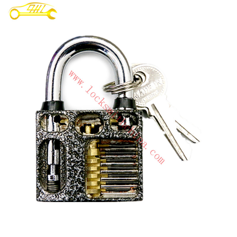 Silver Grey Stainless Steel Cut Away 7-Pin Practice Padlock for Locksmith Lock Picking Professional Locksmith Tools Supplier(China (Mainland))
