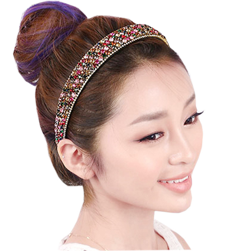2016 Hot Sale Luxury Crystal Colorful Rhinestone bands Glitter Headbands For Women Hair Accessory Boutique Hair Jewelry(China (Mainland))