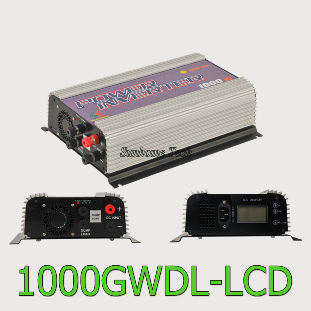 1000W LCD wind power grid tie inverter with dump load,MPPT pure sine wave on grid inverter for DC 22-60V/45-90V wind turbine(China (Mainland))