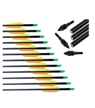 Free Shipping 12pcs Hunting  Archery Arrows Fiberglass Body With Replaceable Broadheads Arrowhead