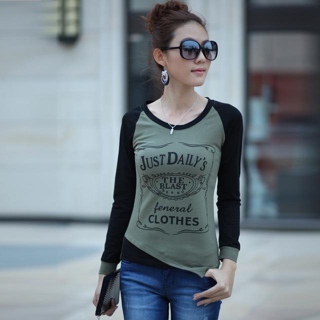 2015 Summer New Fashion T-Shirt Women Letter Print Casual Slim Women's T Shirt Elegant O-neck Plus Size Tops Tees Women T-Shirt