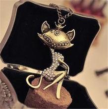 Korea Girl Retro Vintage Sexy Cat Girl Crystal Rhinestone Pendants Bib choker Long chain Necklace(China (Mainland))