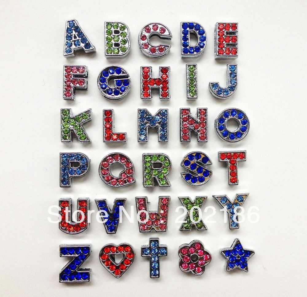 1300pcs 8mm colorful  rhinestone  slide letters   free shipping by express shipping<br><br>Aliexpress
