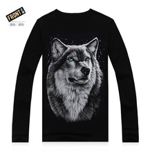 Autumn Wolf 3D Printing T Shirt Spring Male Long Sleeve T-Shirt Anime Men O-Neck 3D Printed Tees Cotton Wolf 3D Printing T Shirt