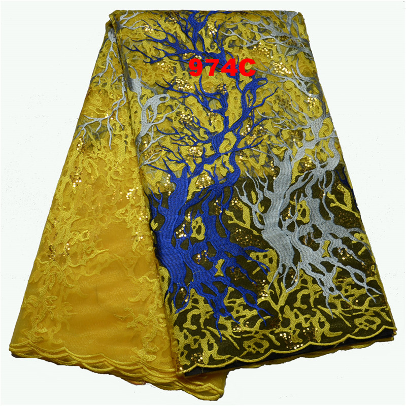 GD974C-3 Wholesale high quality nigerian wedding lace fabric for black women wedding aso ebi with sequins 5yards/lot Yellow(China (Mainland))