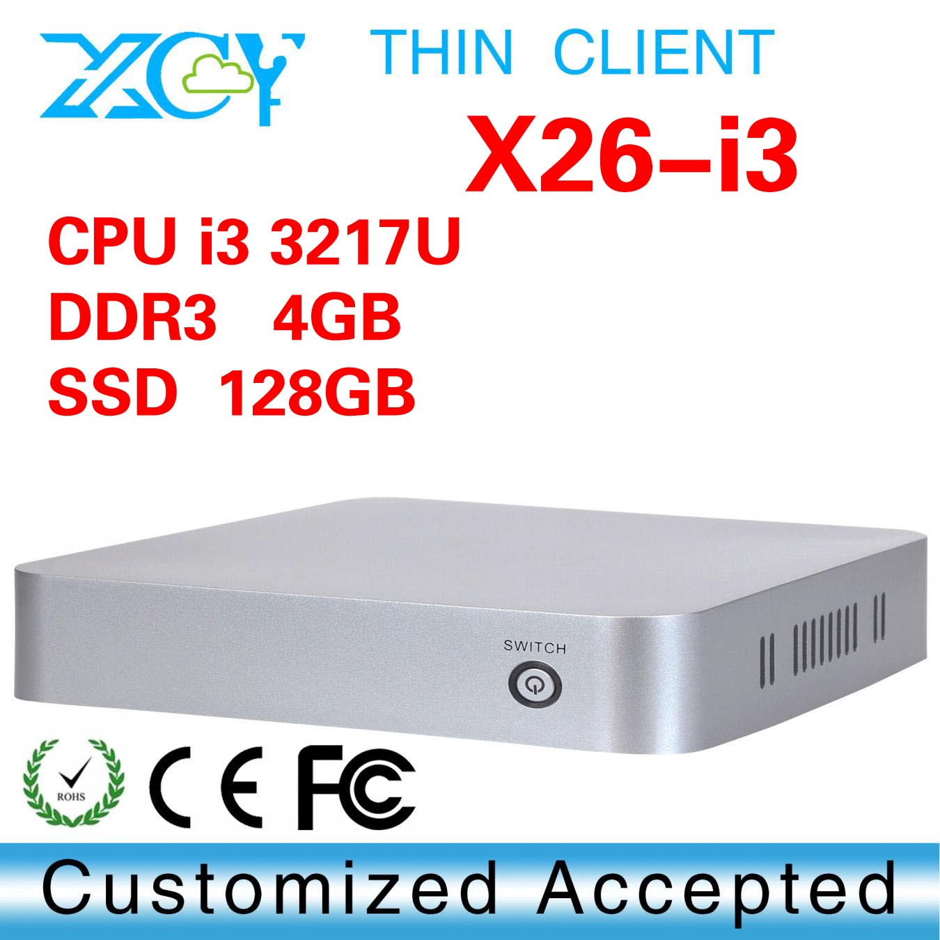 mini car computer, XCY X26-I3 ncomputing thin client, industrial mini pc support full-screen movies and 2D games(China (Mainland))