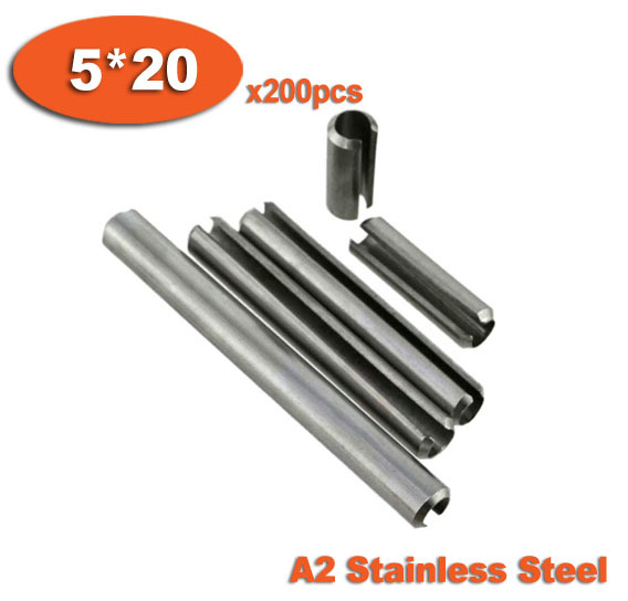 200pcs DIN1481 5 x 20 A2 Stainless Steel Slotted Spring Pins<br><br>Aliexpress