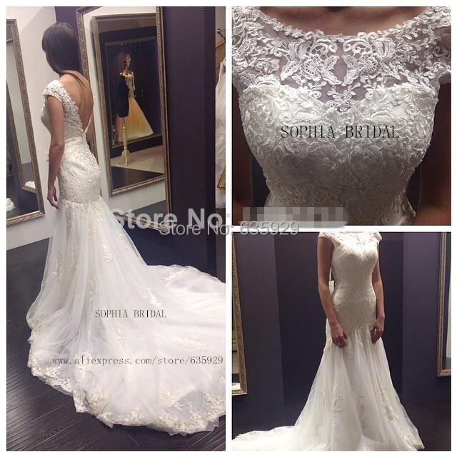 Deep V Open Back Wedding Dress 12