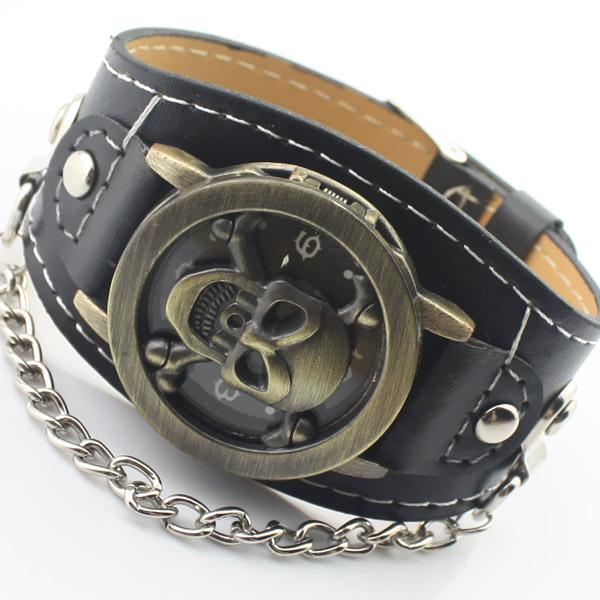 Гаджет  Hot selling fashion punk skull leather strap watch men vintage sport skeleton quartz wrist watch Relogio Masculino clock  None Часы