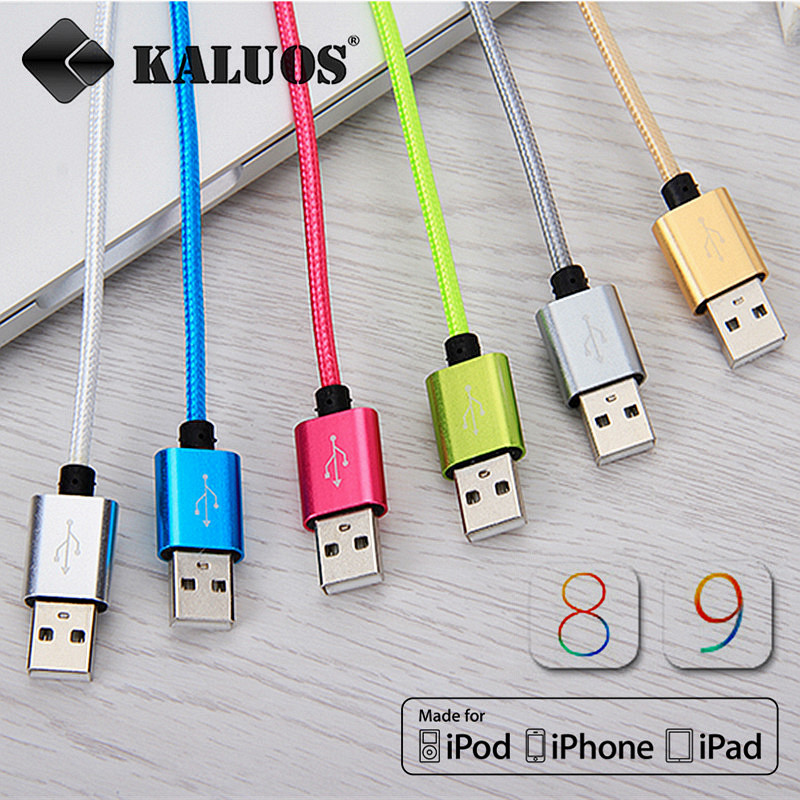 KALUOS 8pin USB Data Sync Charge Cable For iPhone 5 5S 5C 6S Plus iPad 4 mini 2 Air 2 iOS9 Fast Charging Cord Phone Charger Wire(China (Mainland))