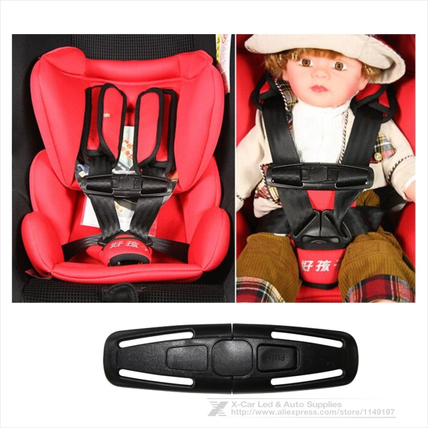 New Arrival Nylon Car Baby Child Safety Seat Strap Belt Adjuster Child Toddler Harness Chest Clip Buckle Black<br><br>Aliexpress
