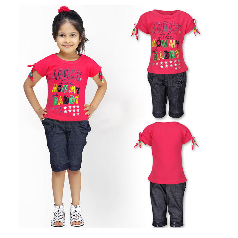 2015 New Summer Girl Clothing Set Cotton Letter Printed T-shirt+Short Pants Children Tee+Jeans Girls Sport Suits Clothes CF153(China (Mainland))