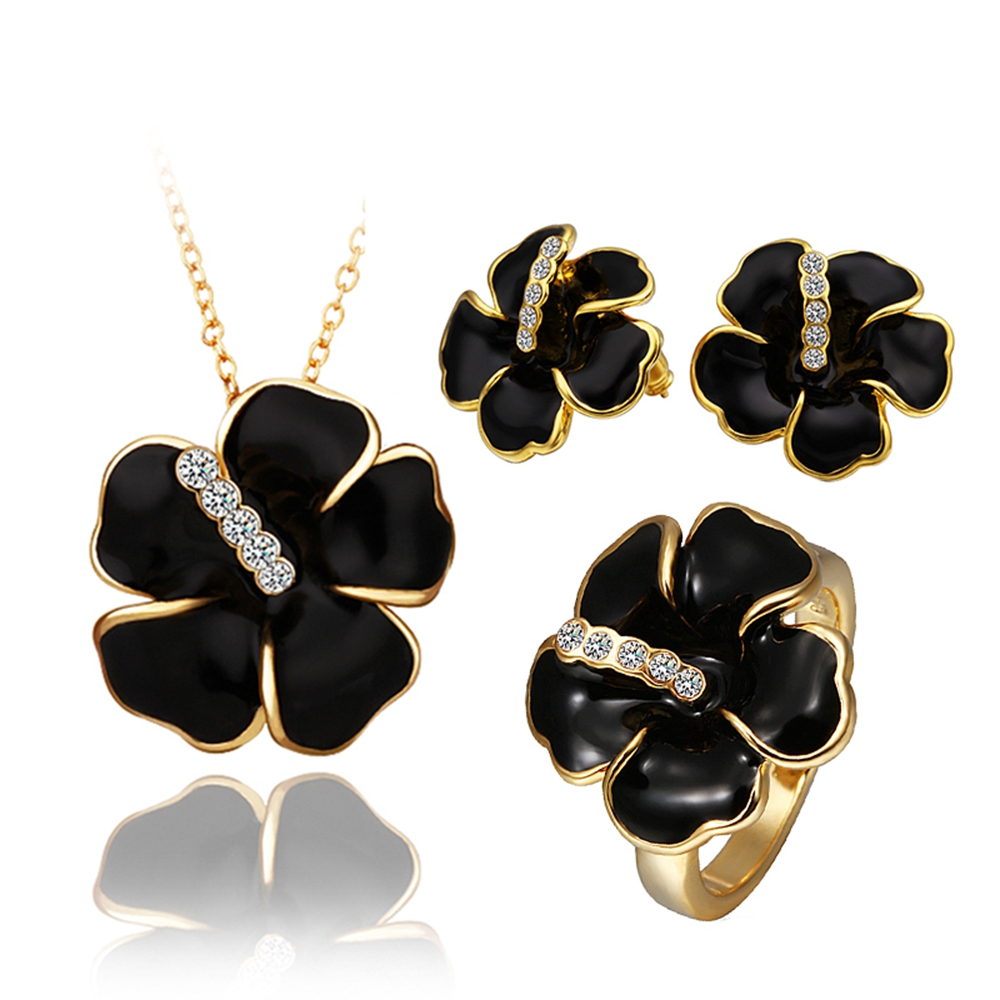 Earrings New Arrival Sale Jewelry Set 2015 Fashion Elegant Jewelry Ring Necklace Free Mixed Styles 18k Plated Hawaii Flowers Set(China (Mainland))