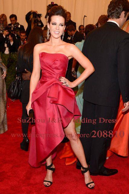 Кейт бекинсейл 2013 ндпи красное платье асимметричный подол короткое платье знаменитости ...