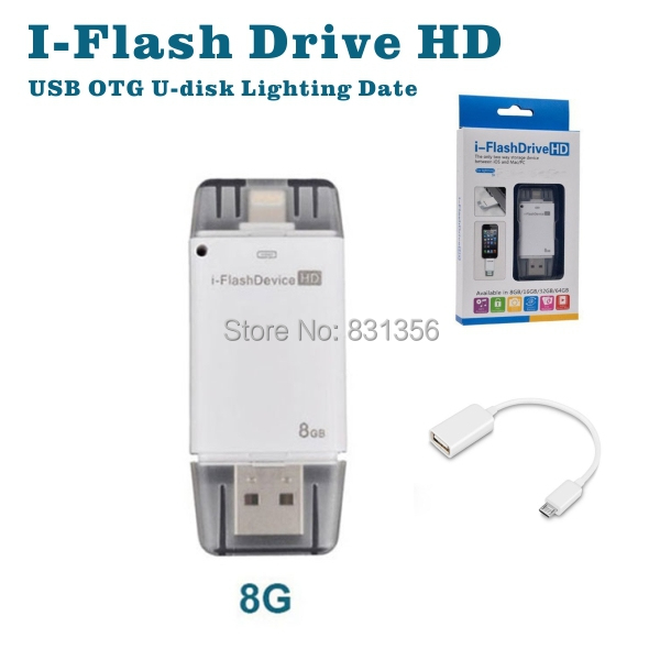 Hot selling 2pcs/lot USB OTG 8G i-Flash Drive HD and 8-64G iFlash for iphone ipad itouch ios device Mobile phone adapter