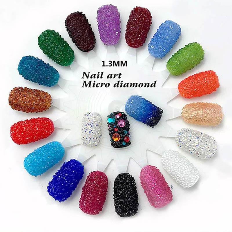 New 1440Pcs Micro Diamond DIY Nails Rhinestones Crystal Flat Non Hotfix Rhinestones Need Glue Nail Art Decoration Cosmetics(China (Mainland))