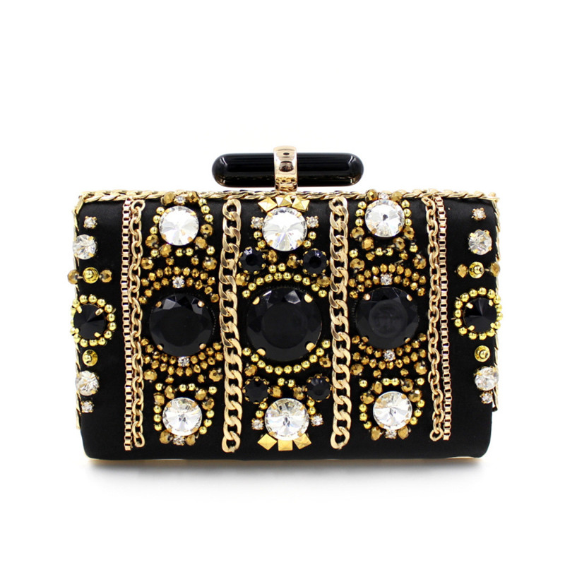 Europe Fashion Vintage Rhinestone Evening Dress Handbag Black Diamonds Clutch bags with Chains Handmade Mini Casual clutch cheap(China (Mainland))
