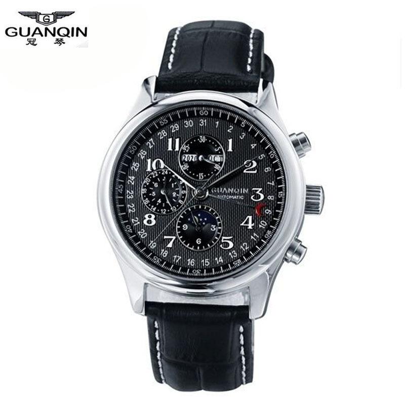 Watches men luxury brand GUANQIN automatic mechanical watch waterproof perpetual calendar Leather sport clock relogio masculino<br><br>Aliexpress