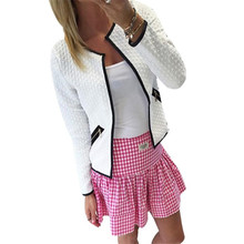 New Brand 2016 Women Short Coat Jacket Long Sleeve Casual Tartan Cardigan White Black Zipper Pockets Slim Suit Outerwears Tops
