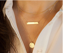 TX236 Fashion Trendy 3 layers Bar And Rounded Necklace Alloy Necklace Fashion Necklace Women Jewelry