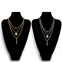 Fashion Geometry Charms Crystal 3 Layers Gold Sliver Color Pick Chain Necklace Women Jewelry Free Shipping