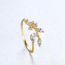 Kesenangan Korea 925 Sterling Perak Buatan Tangan Daun Zaitun Cincin untuk Wanita Indah CZ Batu Adjustable Terbuka Cincin Perak 925 Perhiasan(China)