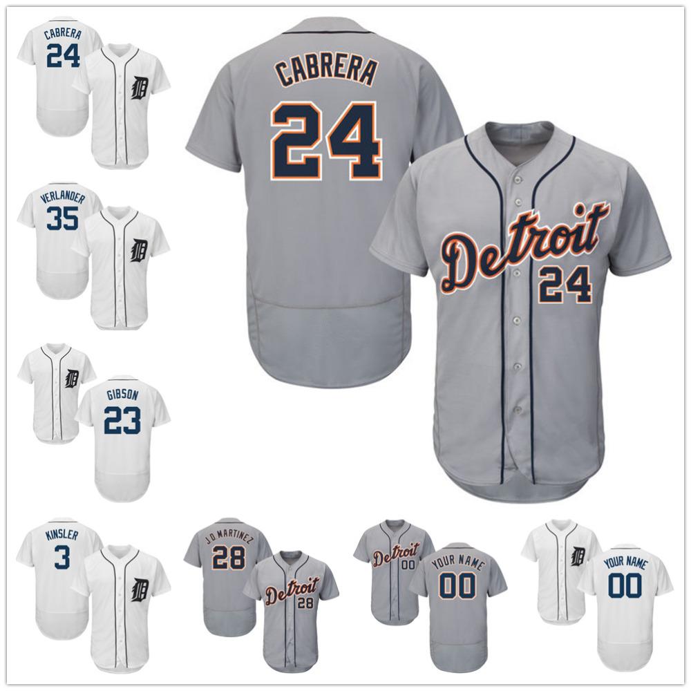 Detroit Tigers 23 Kirk Gibson 24 Miguel Cabrera 35 Justin Verlander 3 Ian Kinsler 28 JD Martinez Gray White Flexbase Jerseys(China (Mainland))