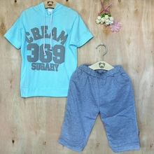 summer baby boy clothes set cream 369 printing short-sleeve hoodies +pant 2pcs childern's clothes baby girl clothes outfit sets(China (Mainland))