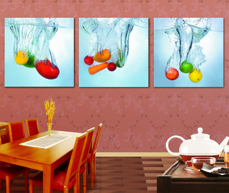 3 piece wall art kitchen decoration painting water fruit for Poster deco cuisine