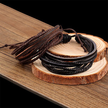Multilayer Leather Bracelets For Men Women Charm Europe PU Cord Cuff Bangle Link Chain Wristbands Friendship Jewelry Accessories(China (Mainland))
