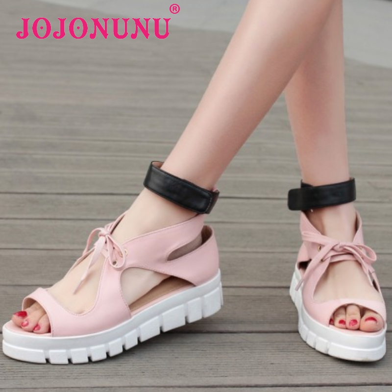 women real genuine leather stiletto ankle strap party flat sandals brand sexy fashion heeled ladies shoes size 34-39 R6406<br><br>Aliexpress
