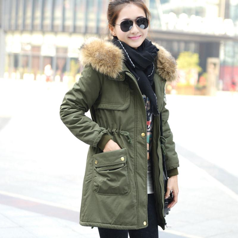 Wholesale Parkas   Thickening Long Autumn Winter Jacket Women Casual Cotton Fur Hooded Coat Korean Overcoat Plus SizeОдежда и ак�е��уары<br><br><br>Aliexpress